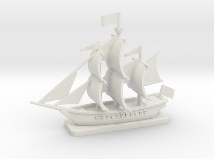 Light Frigate with base, 22 gun: 1/500 scale 3d printed