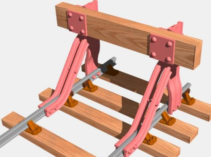 T.W.Ward No. 11b Buffer Stop 3d printed Rendered image showing in pink the items included in the kit