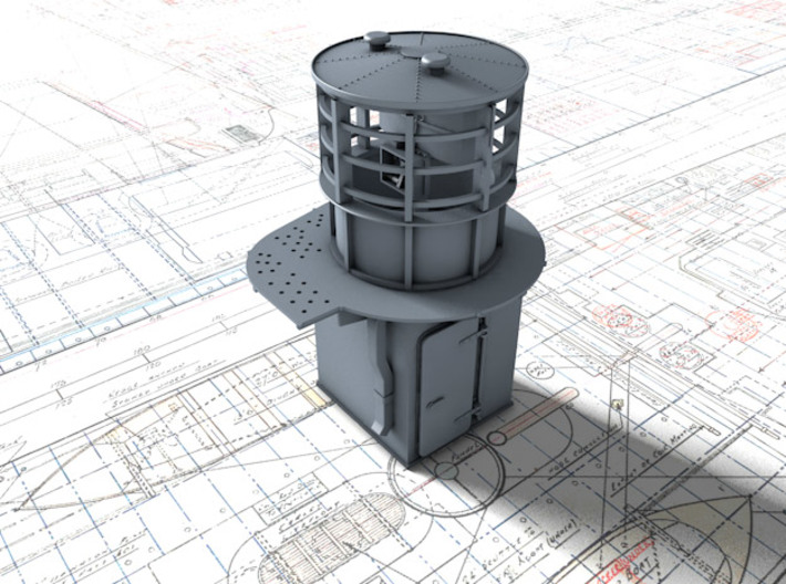 1/72 Flowers Class RDF Lantern and Office 1942 3d printed 3d render showing view from Aft/Starboard