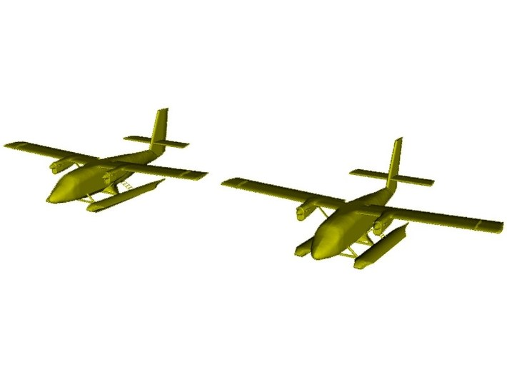 1/200 scale DHC-6 Twin Otter seaplanes x 2 3d printed