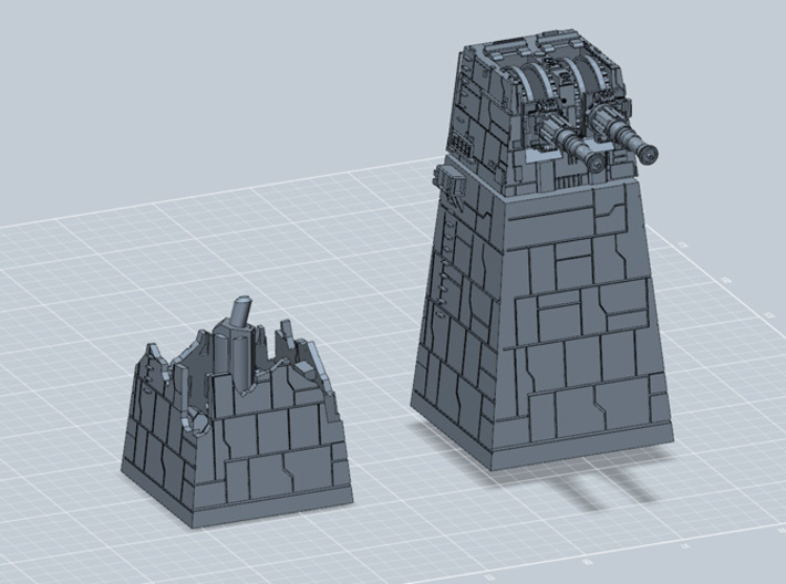 TURBOLASER TOWER DESTROYED 1/270 3d printed