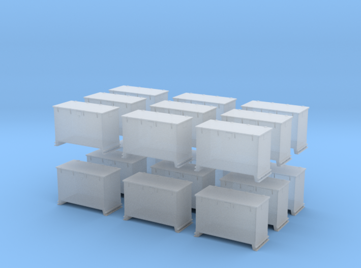1/200 DKM 8.8cm and 10.5cm Ammo Box Set x18 3d printed