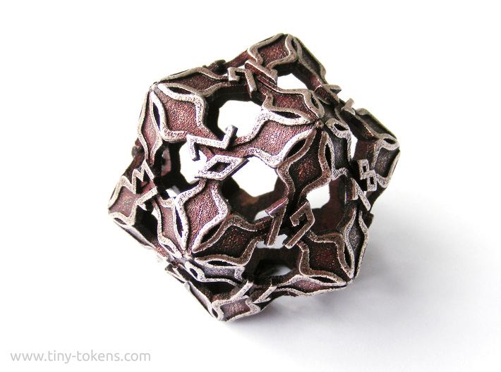 Amonkhet Spindown D20 Life Counter Die 3d printed Stainless steel 'inked' with blood red acrylic ink