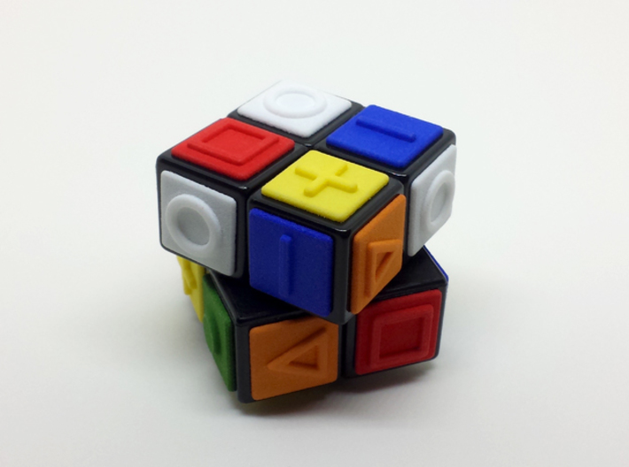 White replacement tile (Rubik's Blind Cube) 3d printed 24 tiles of six colors glued to a 2x2x2 cube