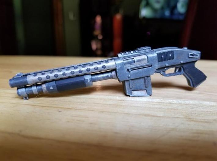 Zx76 Double Barrel Shotgun 1:10 scale 3d printed Zx-76 model in frosted ultra detail, hand painted.  Size shown is 1:6 scale.
