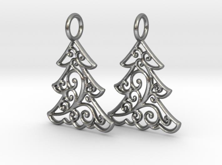 Christmas Tree Earrings (thin) 3d printed