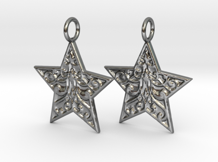 Christmas Star Earrings 3d printed