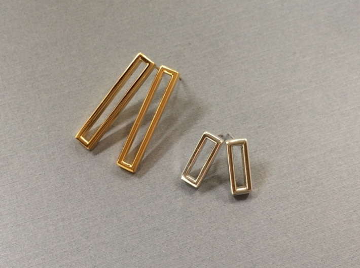 Long Geometric Post Earrings - Minimalist Design 3d printed 18K gold plating and Polished Silver materials
