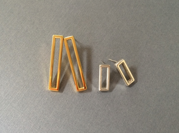 Minimalist Post Earrings, Rectangular Studs 3d printed 18K gold plated and Polished Silver