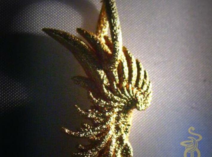 Wing Pendant : Fractal wing design in metal 3d printed 1