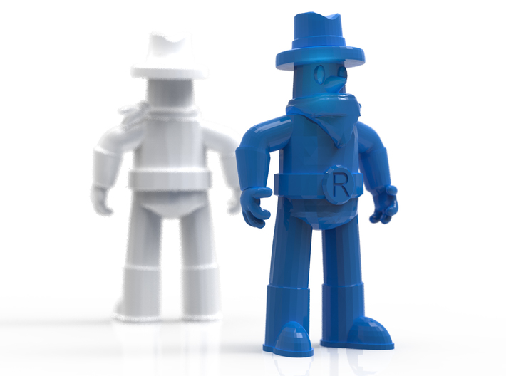 """Ranger Guy 2"""" Figurine (Best of All the Guys!) 3d printed Render, simulating white strong and flexible and blue strong and flexible"""