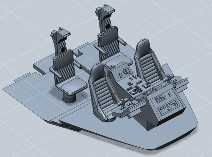 YT1300 CABIN SEATS CONSOLE FLOOR MPC/ERTL 3d printed Millennium cockpit  with seats, console and floor, render.
