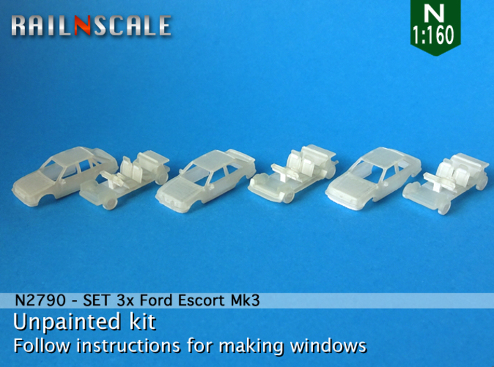 SET 3x Ford Escort Mk3 (N 1:160) 3d printed
