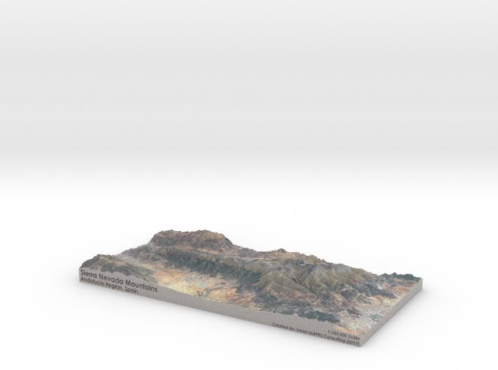 Sierra Nevada Mountains Map, Spain 3d printed