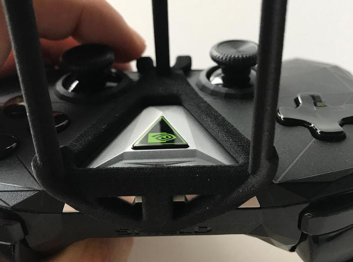 NVIDIA SHIELD 2017 controller & LG X power - Over  3d printed SHIELD 2017 - Over the top - front view
