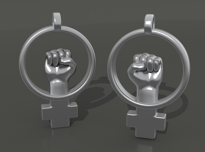 Womens Rights Symbol Earrings 3d printed