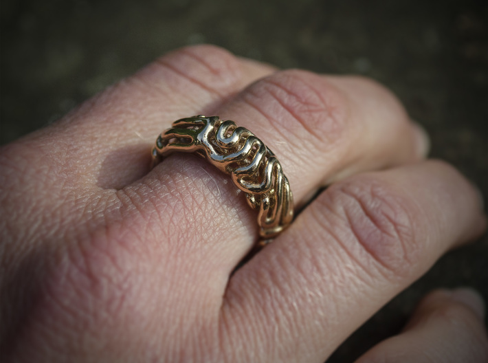 Reaction Diffusion Ring 5, Size 60 3d printed