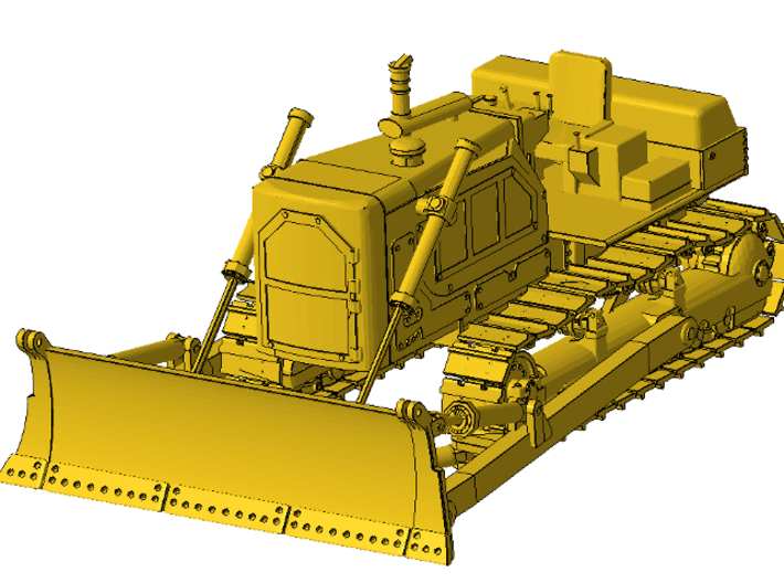 1/87th Straight Blade for large Bulldozer 3d printed In comparison attached to large bulldozer