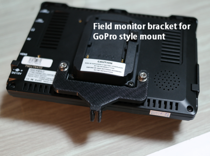 Field Monitor bracket for GoPro style mount 3d printed