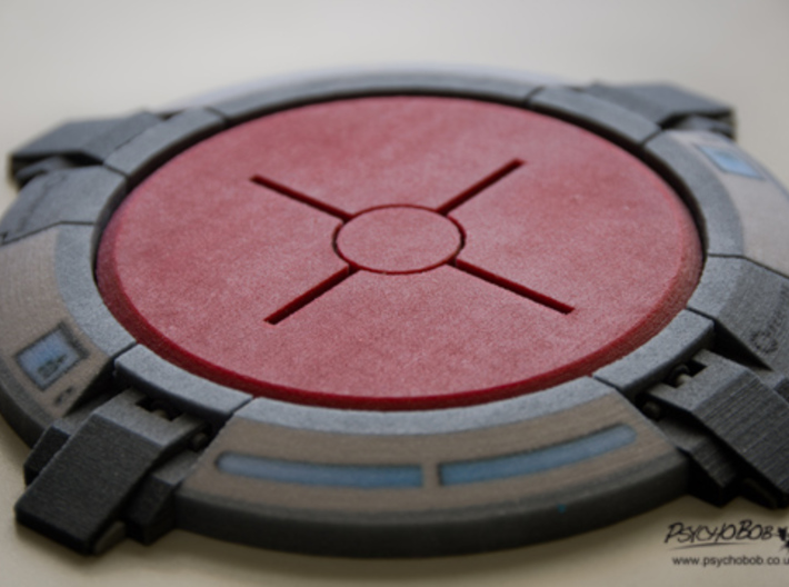 Portal button Coaster 3d printed As it comes in Full Colour Sandstone