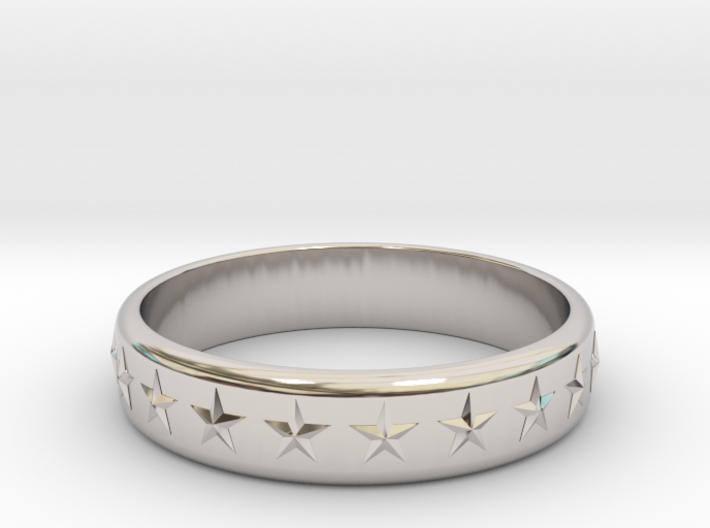 Stars Around (5 points, embossed, thick) - Ring 3d printed