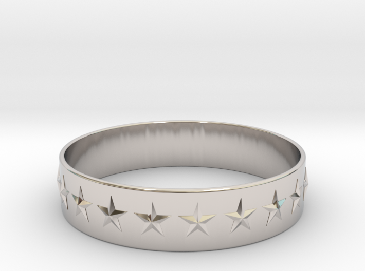 Stars Around (5 points, embossed, thin) - Ring 3d printed