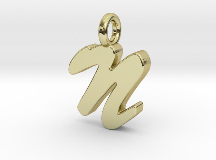 N - Pendant 2mm thk. 3d printed