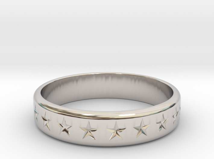 Stars Around (5 points, engraved, thick) - Ring 3d printed