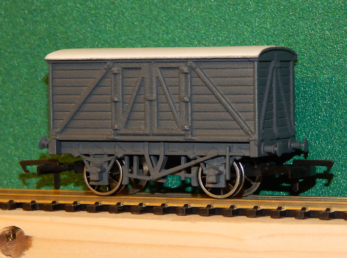 00 GWR Outside Framed 8T Goods Van Body 3d printed An example of the body fitted to a Dapol Chassis (later not supplied) after painting