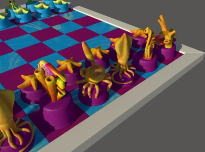 Sea Chess Pieces 3d printed Board not included.