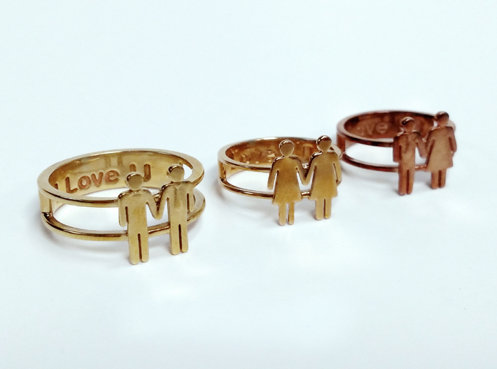 Love Collection Rings - Woman and Woman Ring 3d printed
