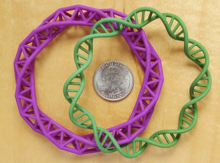 DNA Bracelet (63 mm) 3d printed Double and Triple Helix together