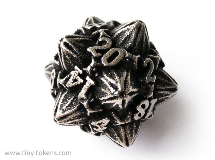 Floral Dice – D20 Gaming die 3d printed Stainless steel 'inked' in black