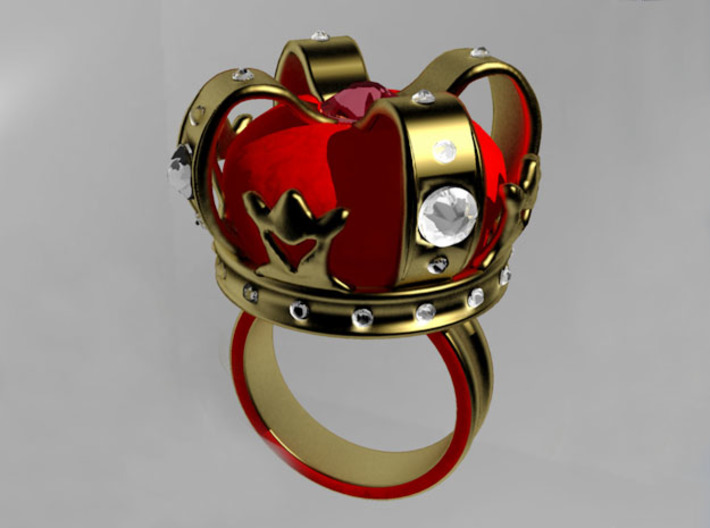 Crown Ring 3d printed Shown with added gold leaf and crystals