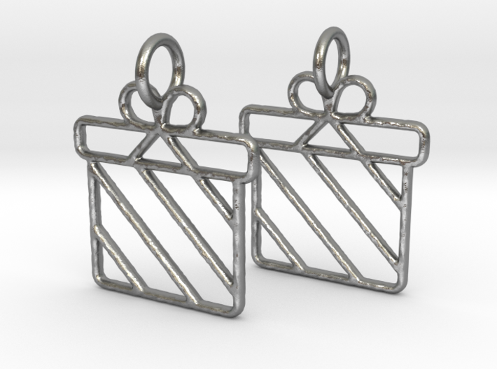 Christmas present earrings 3d printed