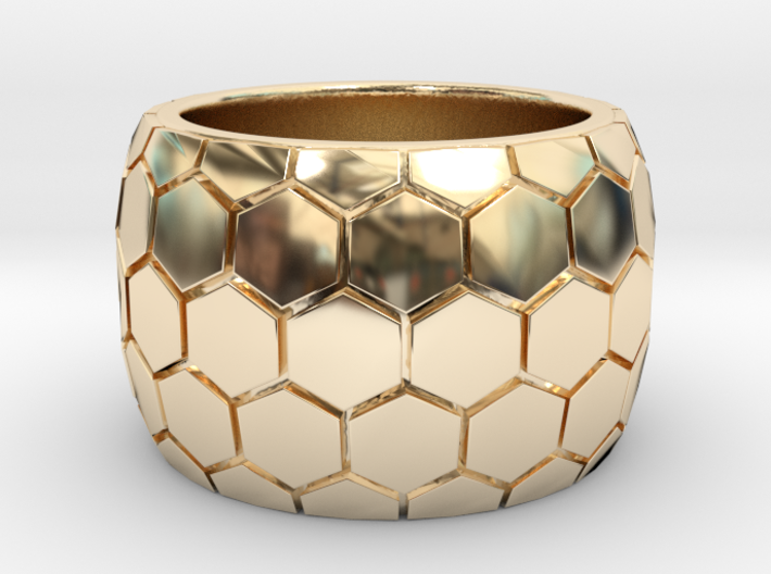 Hexagon patterned ring 3d printed