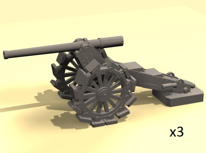 1/220 De Bange 155mm cannon with shoes 3d printed