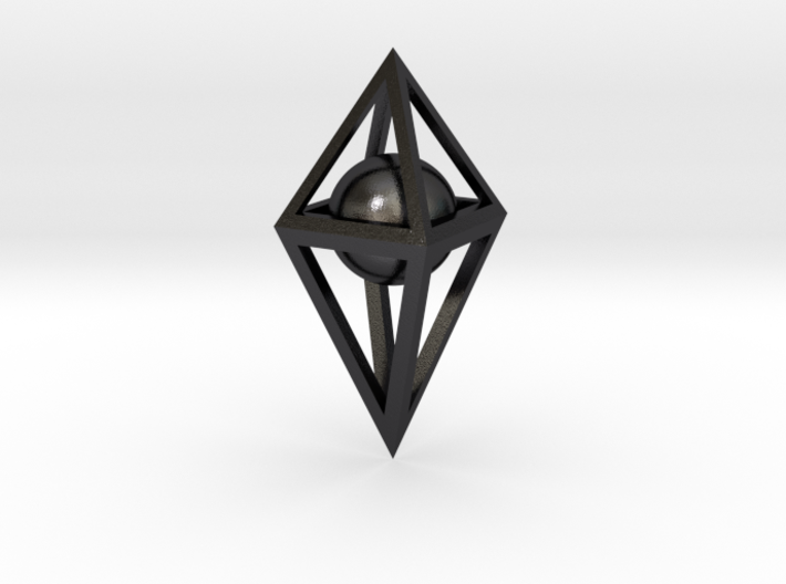 3D Skeletal Octahedron with Sphere  3d printed