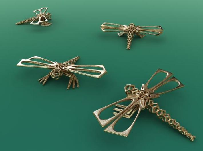 DragonFly 3d printed Render in Gold Plated Glossy