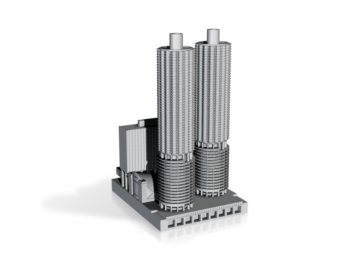 Marina City (1:1200 Scale) 3d printed