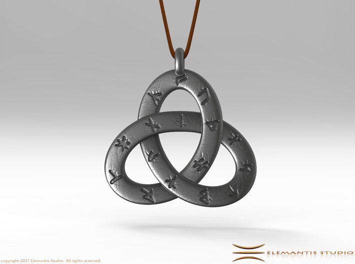 Norse/ Icelandic Rune Poem Triquetra 4.5cm 3d printed Pendant cord not included