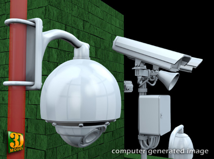 Surveillance cameras (1/24) double pack 3d printed surveillance cameras - 1/24th scale - double pack - dome camera 2