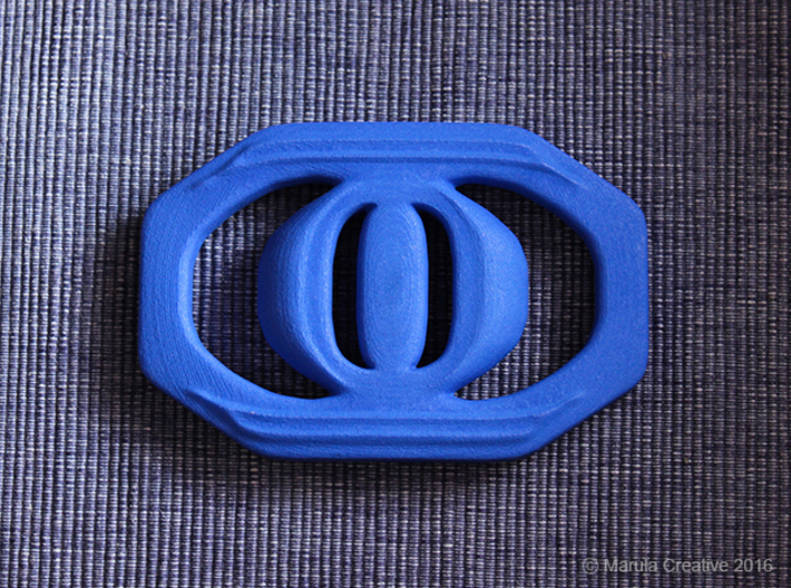 Buckle for material belt 3d printed Blue Strong & Flexible Polished