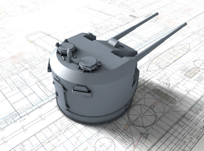 1/350 Dual Purpose 5.25 Inch Guns 1943 x5 3d printed 3d render showing product detail