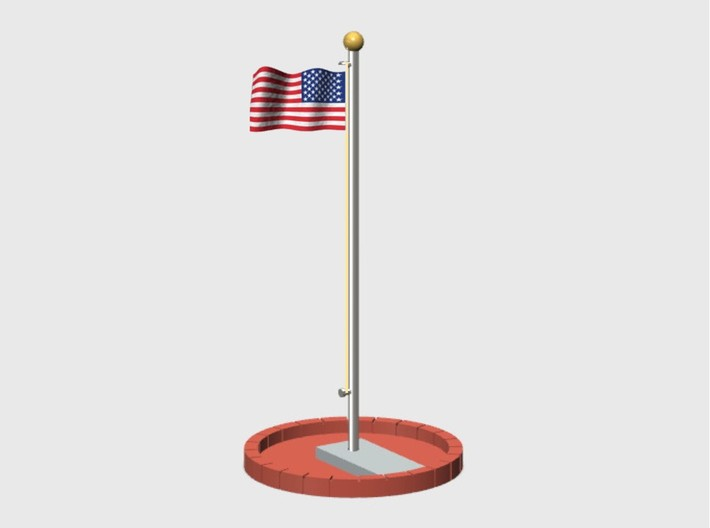 Flag Pole Assembly 3d printed FP-001