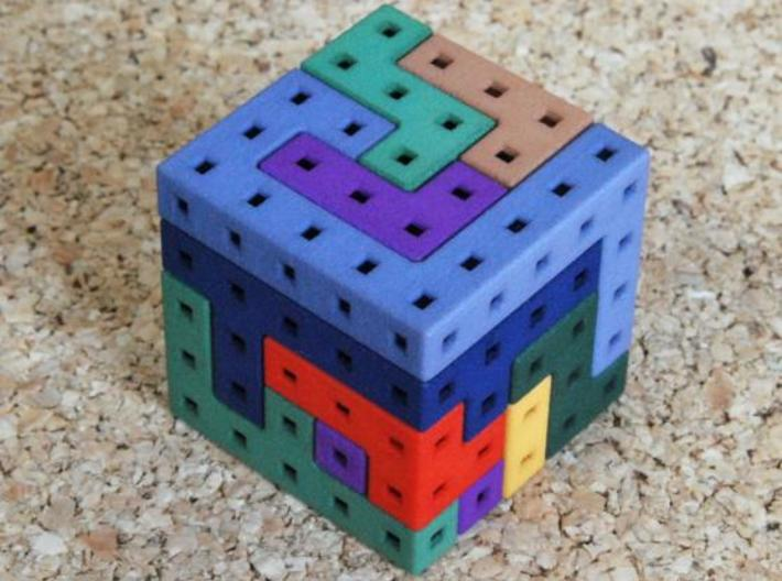 Switch Cube hollow 3d printed Dyed solved