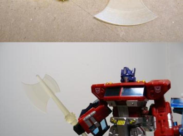 Prime Axe 2 3d printed Transparent detail, unfinished.