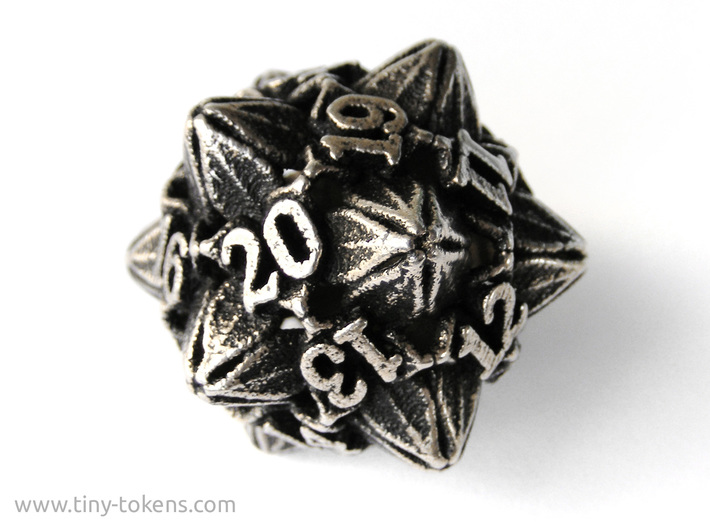 Floral Dice – D20 Spindown Life Counter die 3d printed Stainless steel 'inked' with black