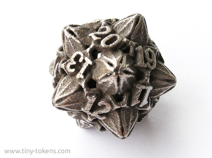 Floral Dice – D20 Spindown Life Counter die 3d printed Plain stainless steel