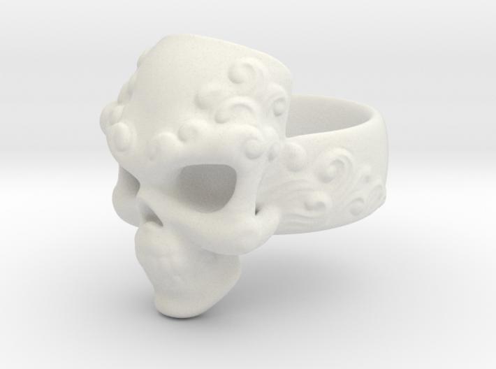 Elemental Skull Ring 'Water'  3d printed